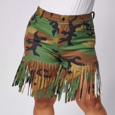 lovely Street Camo Print Tassel Design Plus Size Shorts