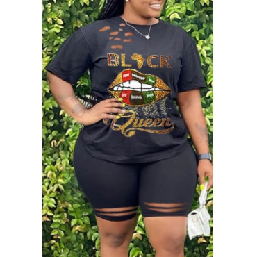 lovely Street O Neck Lip Print Black Plus Size Two-piece Shorts Set