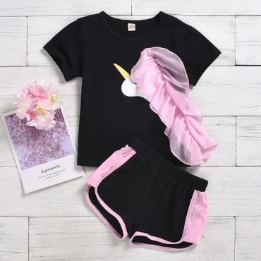 lovely Casual O Neck Patchwork Black Girl Two-piece Shorts Set