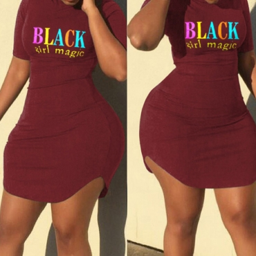 Lovely Leisure O Neck Letter Print Wine Red Mini Plus Size Dress