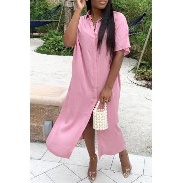 lovely Casual Side High SlitPink Ankle Length Dress