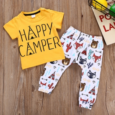 lovely Casual Cartoon Print Yellow Boy Two-piece Pants Set