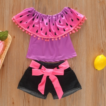 lovely Trendy Print Tassel Design Purple Girl Two-piece Shorts Set