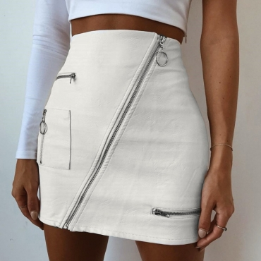lovely Trendy Zipper Design White Skirt