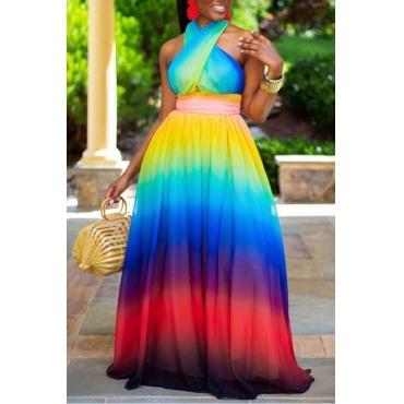 Lovely Bohemian Tie-dye Cross-over Design Multicolor Maxi Dress