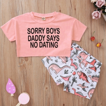 lovely Casual Letter Print Pink Girl Two-piece Shorts Set