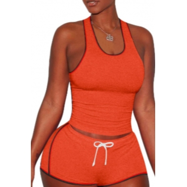 lovely Sportswear Lace-up Croci Two-piece Shorts Set