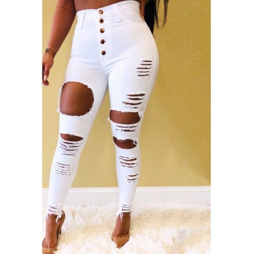 Lovely Street Buttons Design Hollow-out White Jeans