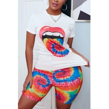 lovely Leisure Lip Print Orange Two-piece Shorts Set