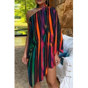 lovely Stylish One Shoulder Striped Multicolor Knee Length Dress