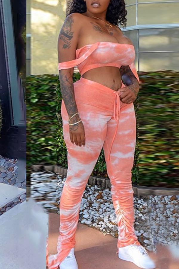 Two-piece Pants Set Lovely Trendy Dew Shoulder Tie Dye Pink Two Piece Pants Set фото