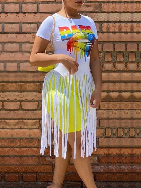 Lovely Street O Neck Lip Print Tassel Design White T-shirt фото