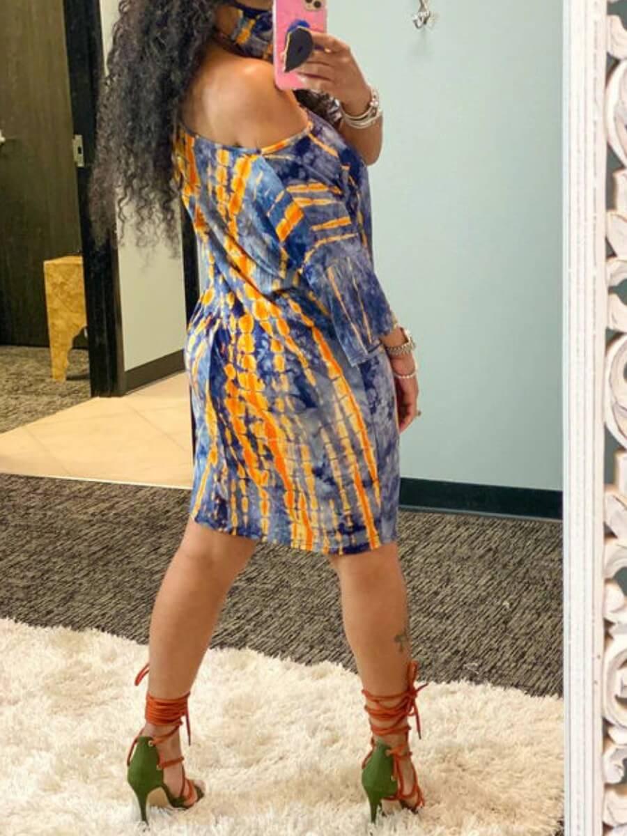 lovely Casual Tie-dye Blue Knee Length T-shirt Dress