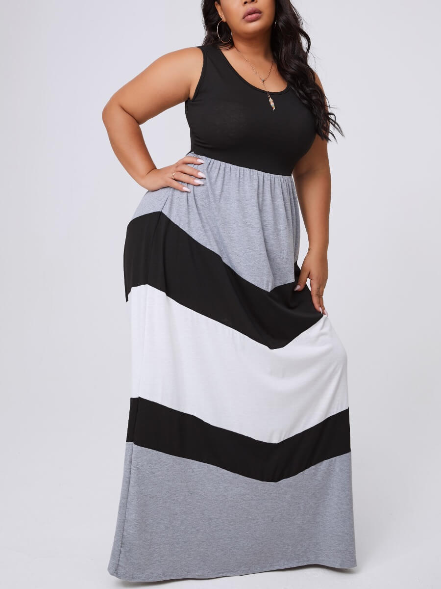Lovely Casual Patchwork Black Maxi Plus Size Dress фото