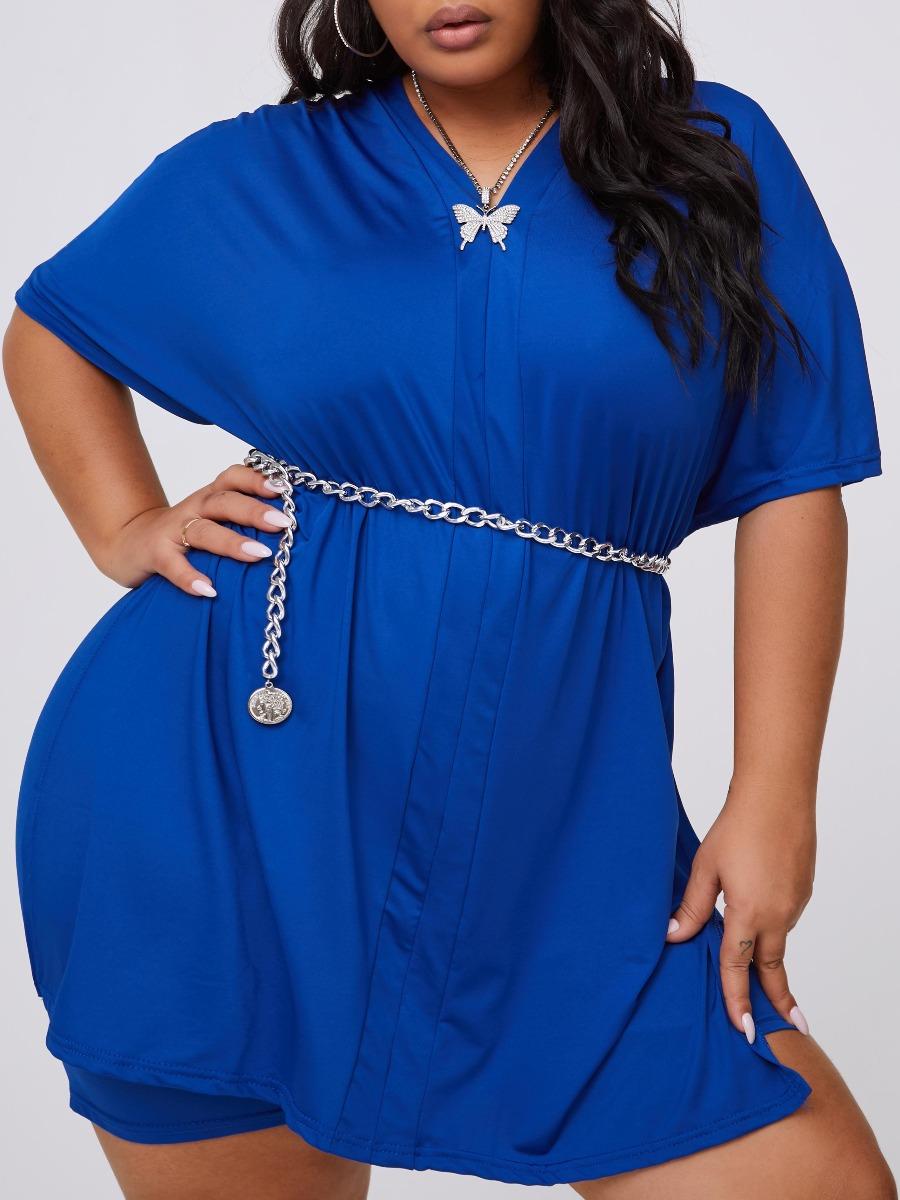 Lovely Leisure V Neck Basic Blue Plus Size Two-piece Shorts Set фото