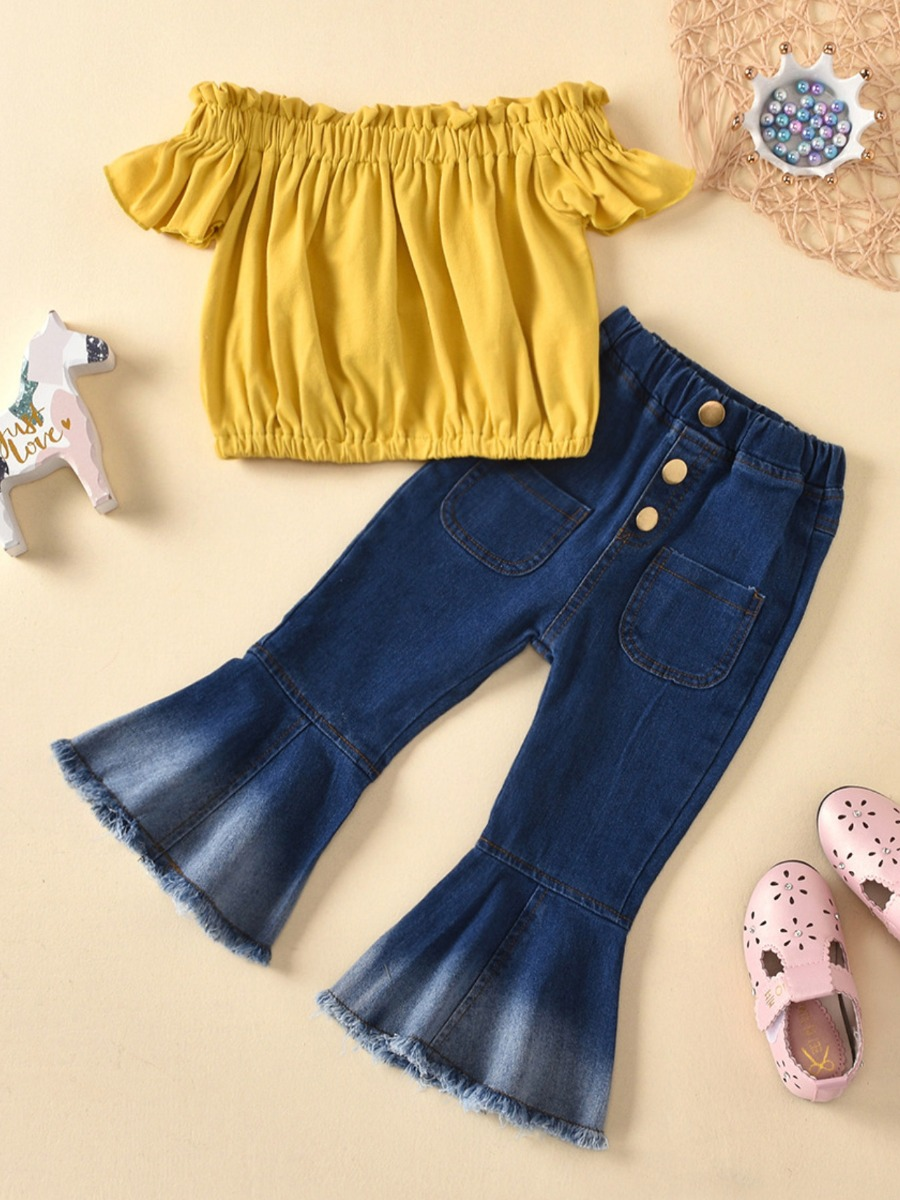 Girls Two-piece Pants Set lovely Casual Fold Design Yellow Girl Two-piece Pants Set фото