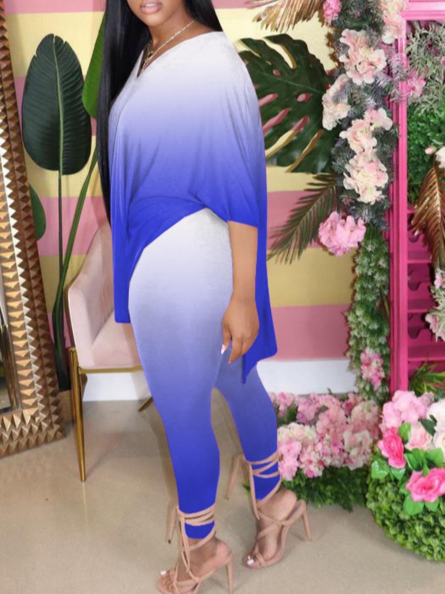 LW Plus Size Casual V Neck Gradient Blue Two-piece Pants Set