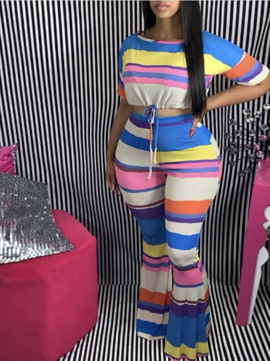 Lovely Casual O Neck Rainbow Striped Multicolor Plus Size Two-piece Pants Set фото