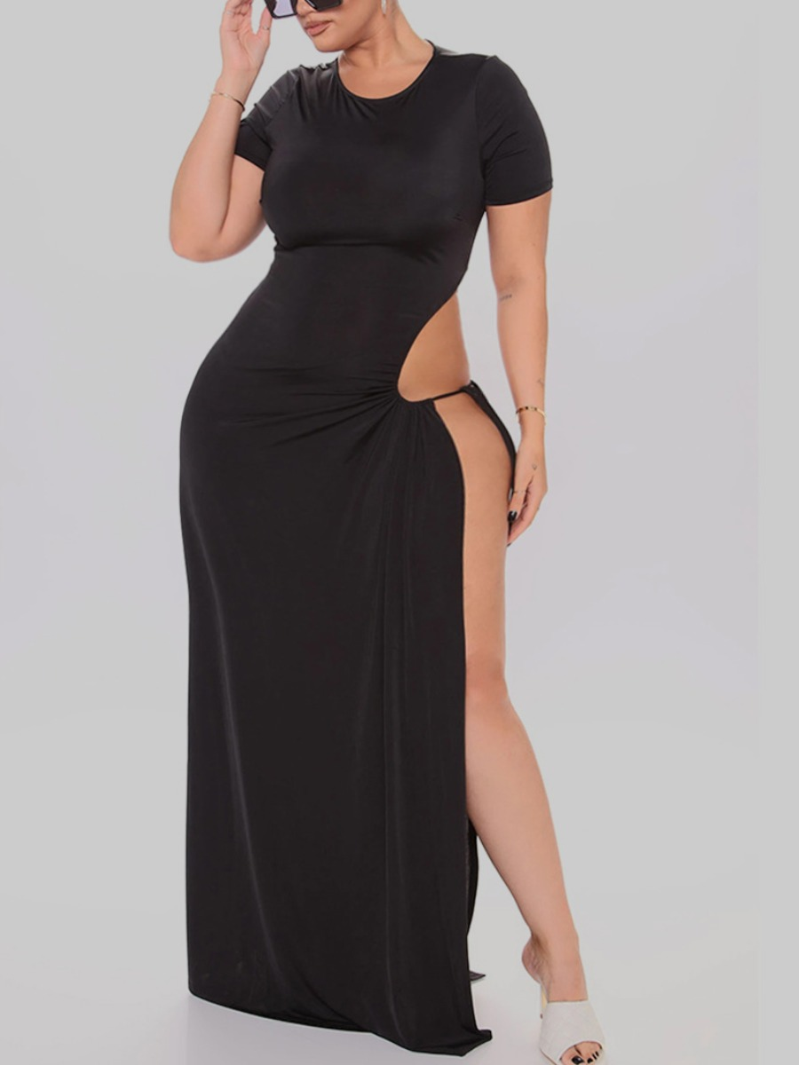 Lovely Sexy Lace-up Side High Slit Black Maxi Plus Size Dress фото