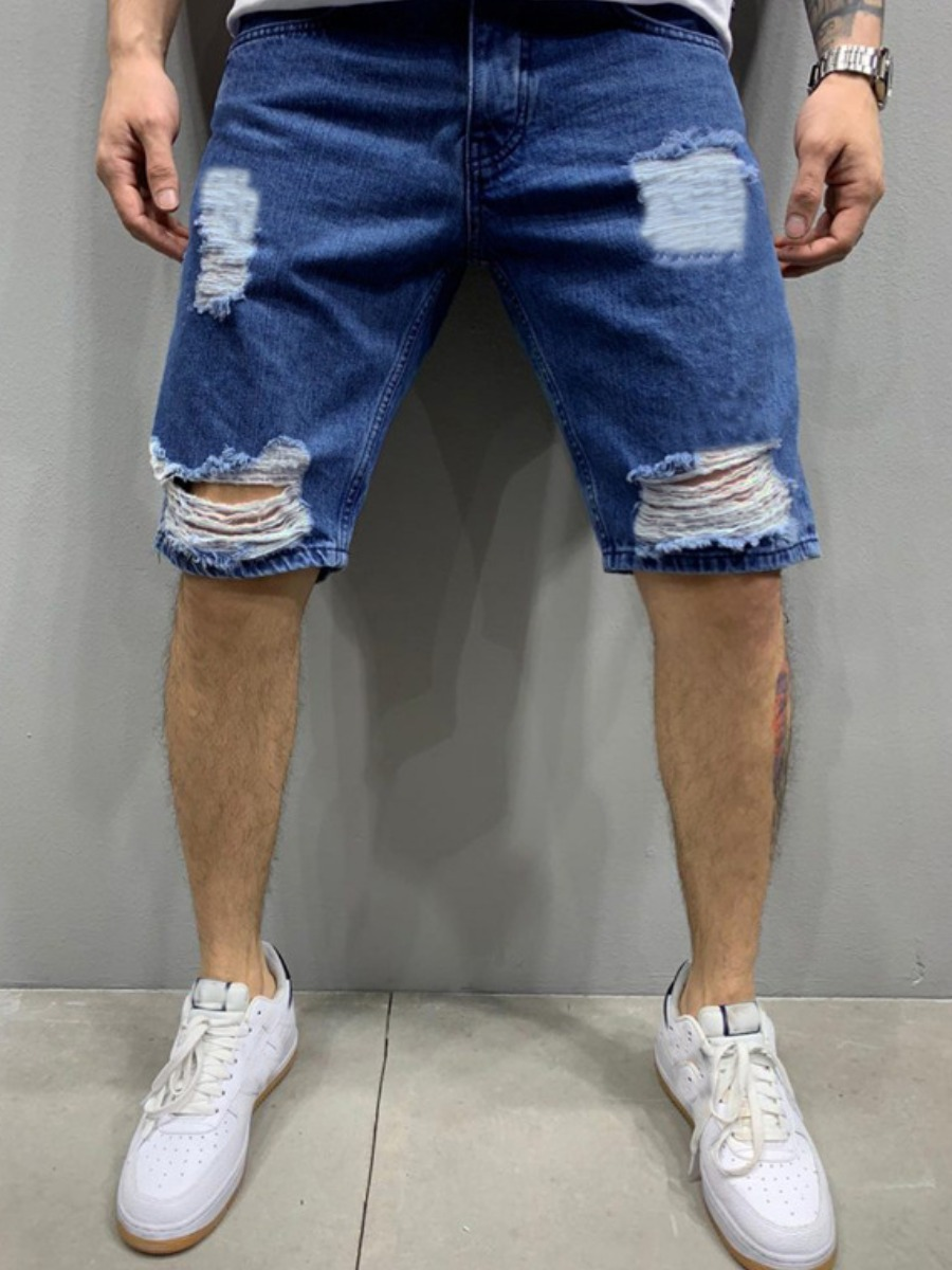 Men Denim Shorts Lovely Street Broken Holes Blue Denim Shorts фото