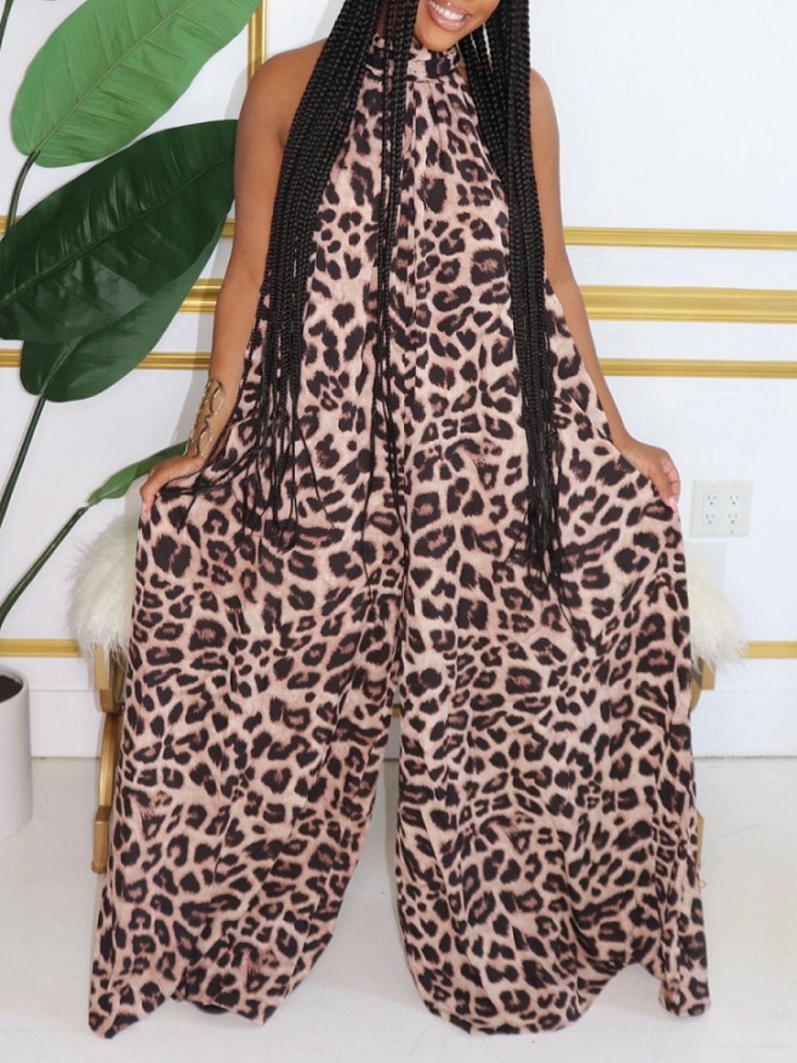Lovely Trendy Sleeveless Leopard Print One-piece Jumpsuit фото