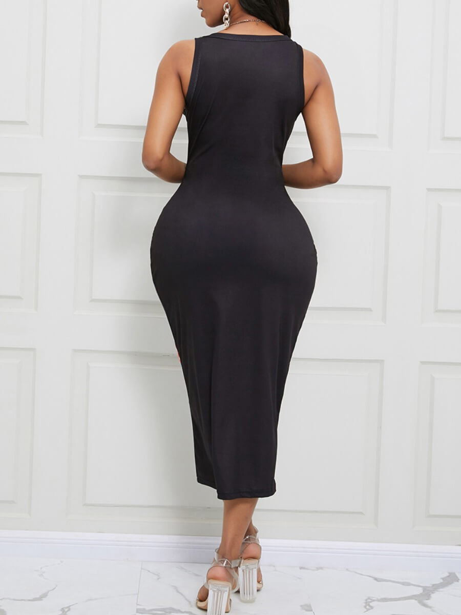 Lovely Street Print Black Mid Calf Dress