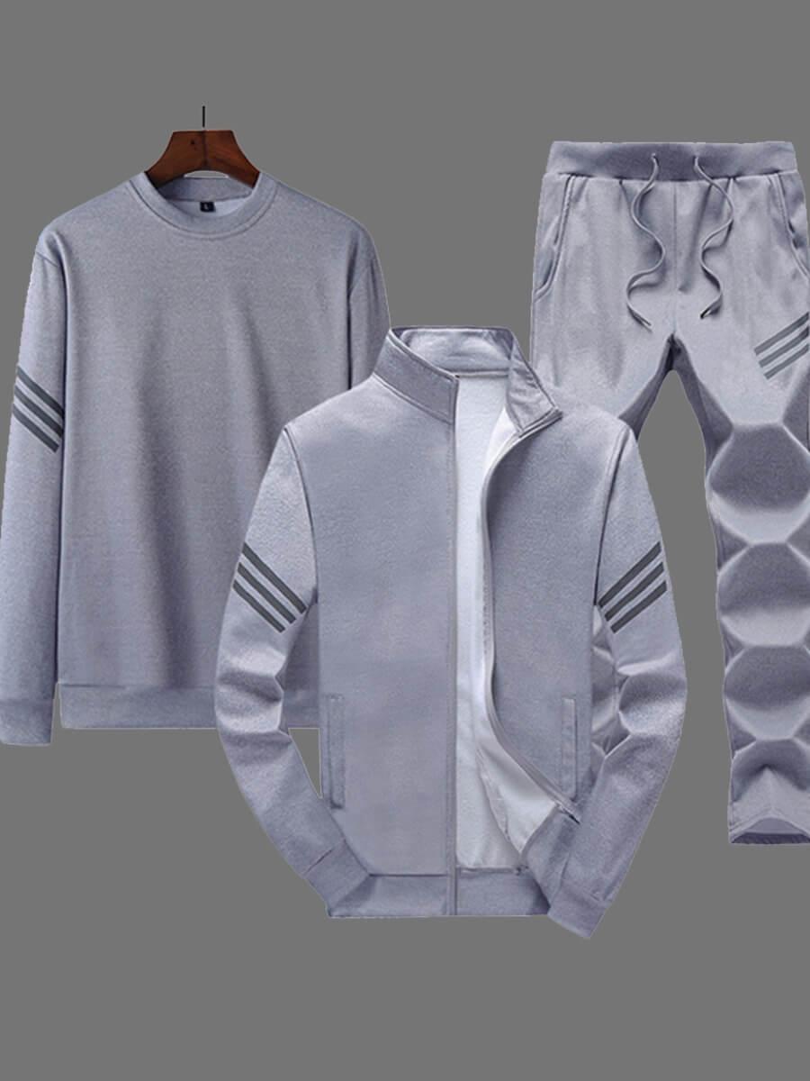 Two-piece Pants Set Men Lovely Sportswear Zipper Design Light Grey Three-piece Pants Set фото