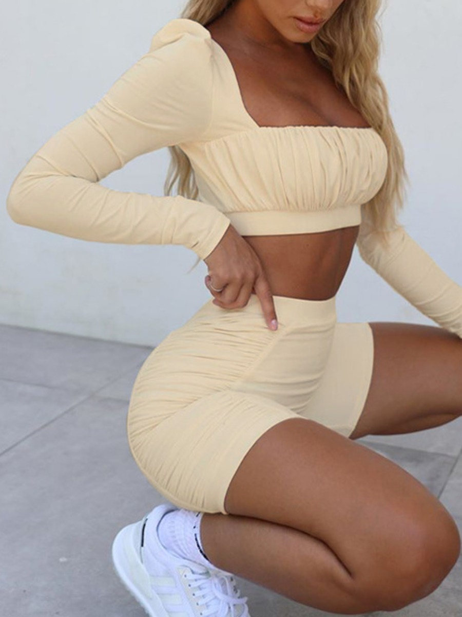 Activewear lovely Sportswear Fold Design Skinny Khaki Two-piece Shorts Set фото