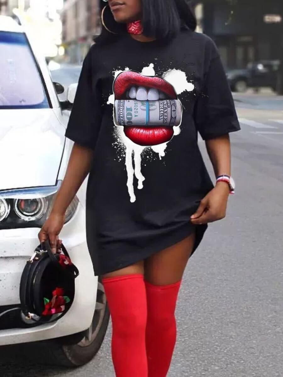 Lovely Casual O Neck Lip Print Black Mini T-shirt Dress фото