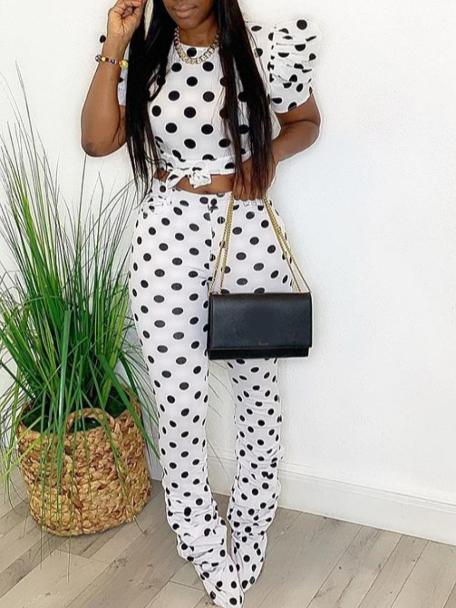 LW Dot Print Puff Sleeve Pants Set