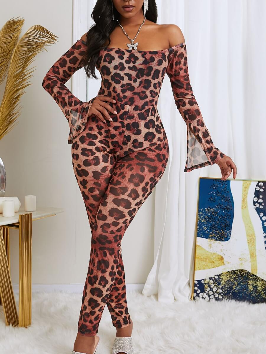 Lovely Sexy Dew Shoulder Leopard Print One-piece Jumpsuit фото