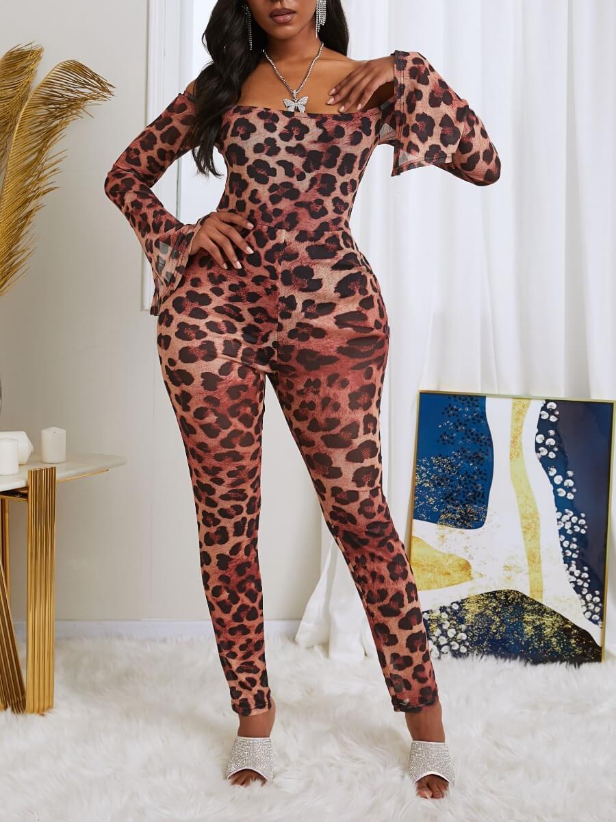 Lovely Sexy Dew Shoulder Leopard Print One-piece J
