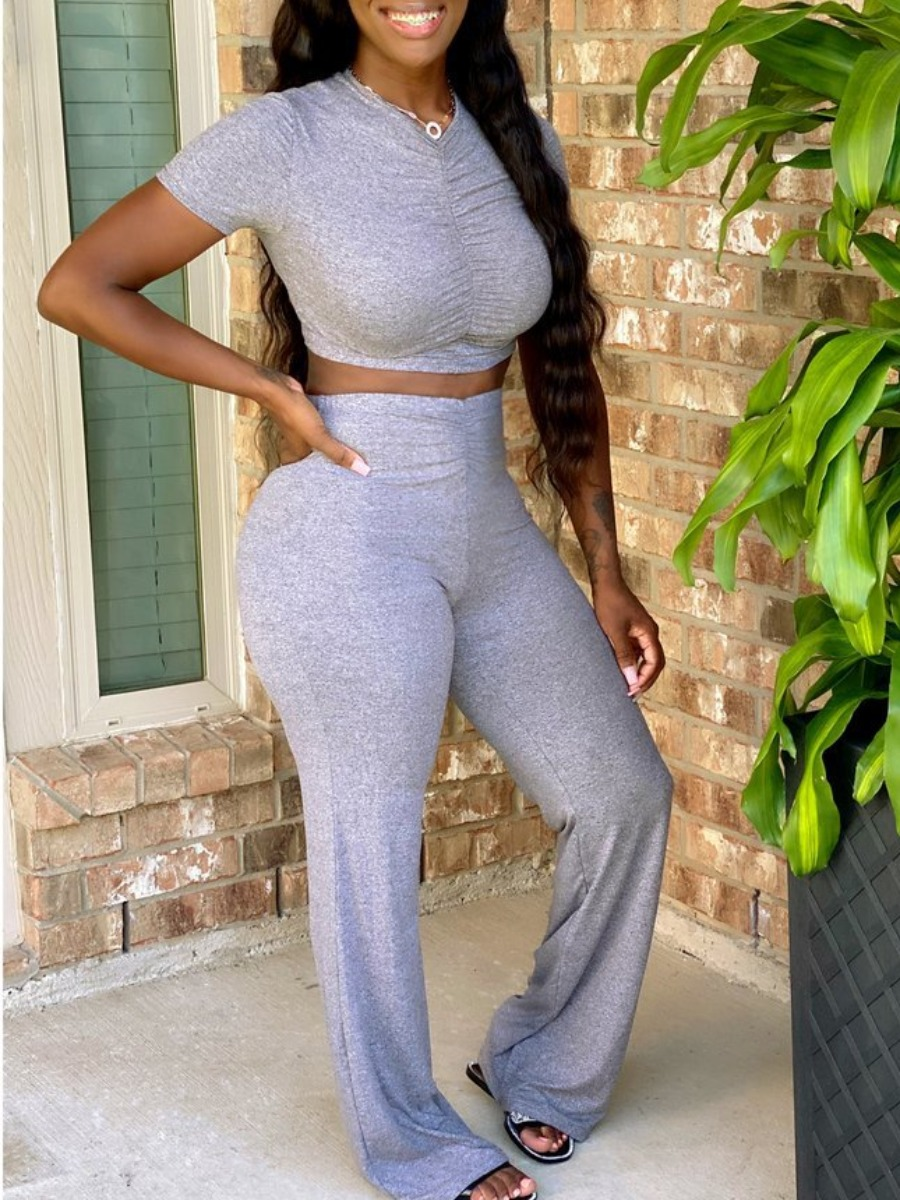 Two-piece Pants Set Lovely Casual V Neck Fold Design Grey Two Piece Pants Set фото
