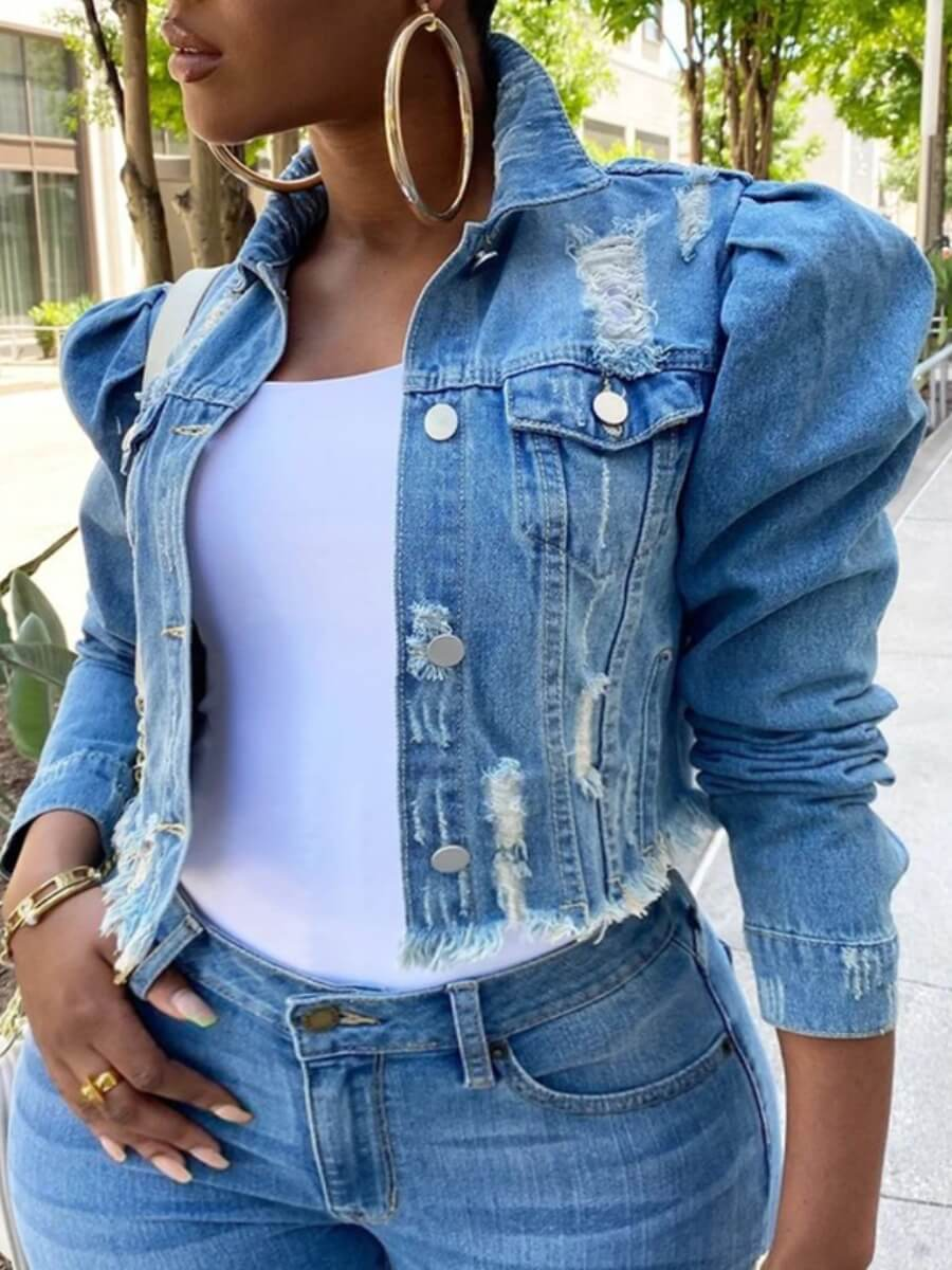 Lovely Street Turndown Collar Buttons Design Blue Plus Size Denim Jacket фото