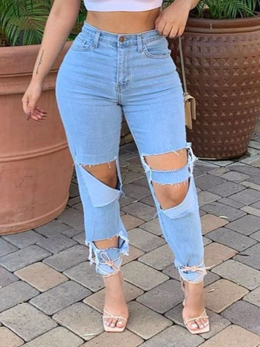 Lovely Trendy Hollow-out Baby Blue Denim Jeans фото