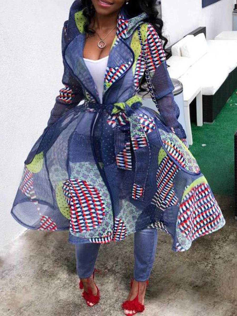 Plus Size Coat&Jacket Lovely Casual Print Patchwork Long Blue Plus Size Coat фото