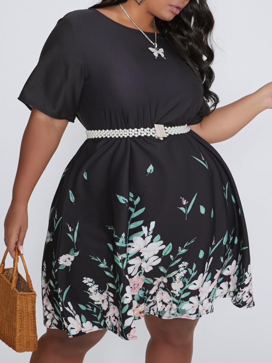 Lovely Casual O Neck Plants Print Black Knee Length Plus Size Dress фото