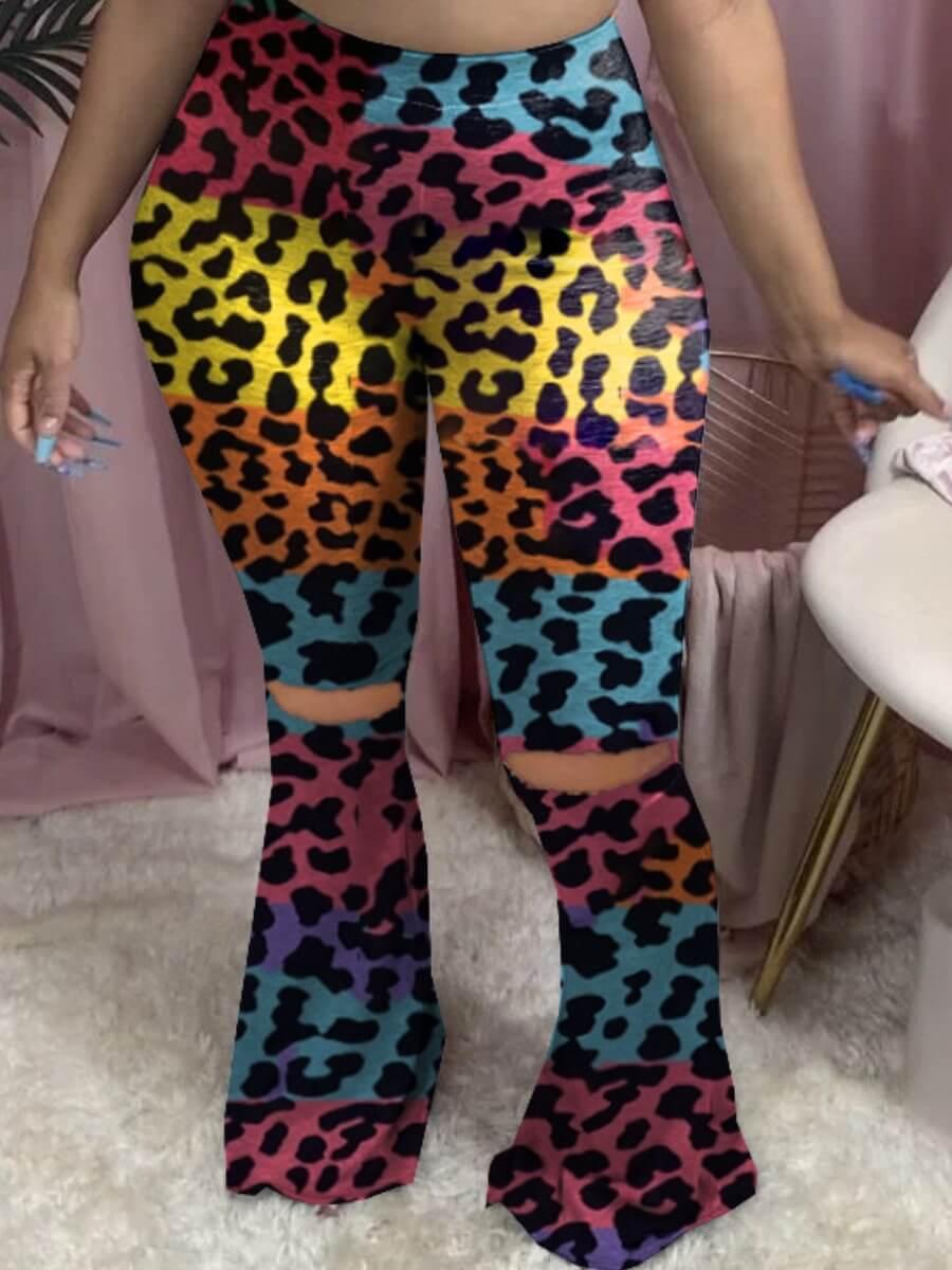 Lovely Stylish Broken Holes Leopard Print Pants фото