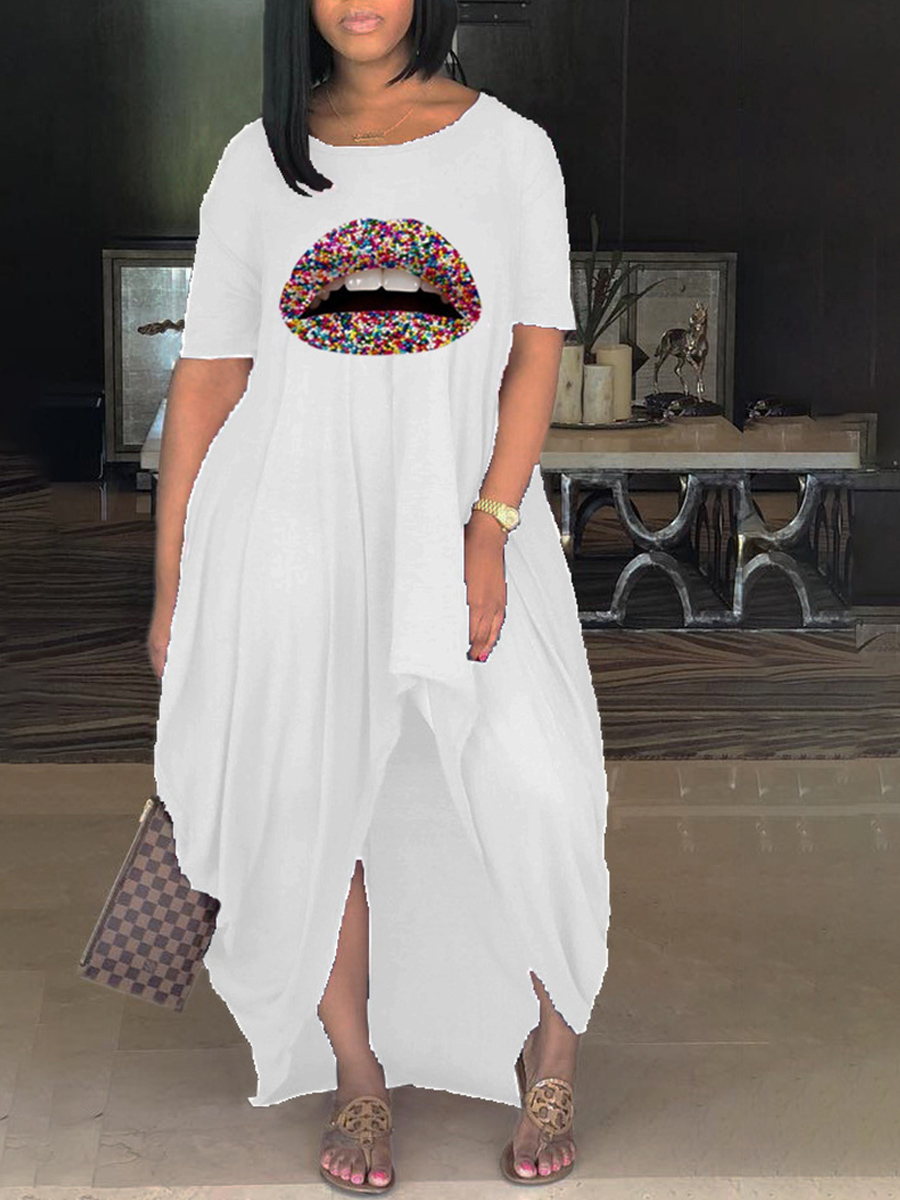 Lovely Casual O Neck Lip Print White Ankle Length Plus Size Dress фото