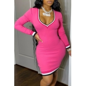 Lovely Casual Deep V Neck Patchwork Pink Mini Dres
