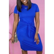 lovely Casual O Neck Knot Design Deep Blue Knee Le