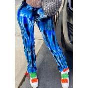 lovely Trendy Tie-dye Blue Pants