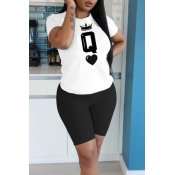 lovely Leisure O Neck Letter Print Black Two Piece