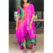 Lovely Casual O Neck Tie-dye Rose Red Maxi Plus Si