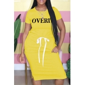 lovely Casual Letter Print Yellow Knee Length Plus