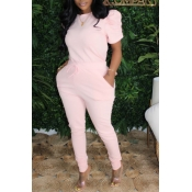lovely Casual Lace-up Pink Plus Size Two-piece Pan