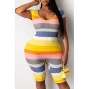 lovely Trendy U Neck Striped Plus Size One-piece R