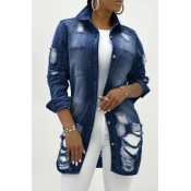 lovely Casual Hollow-out Deep Blue Denim Jacket