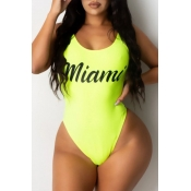 lovely Letter Print Yellow Plus Size One-piece Swimsuit