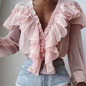 lovely Trendy Flounce Design Pink Blouse